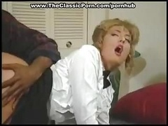 Blonde maid is getting her tush banged by a big black purple pole