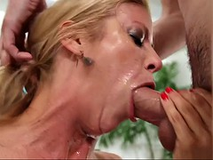 experienced alexis fawx gives a filthy blowjob to big cocked man