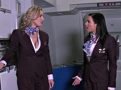 CFNM stewardesses buttfucked in foursome