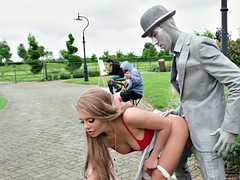 alessandra jane got fucked by the living statue outdoors