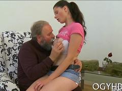 Old bearded lover licks a schoolgirls pussy and tits