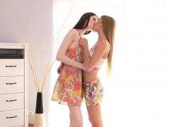 Lesbian Schoolgirls Fondle Each Others Pussy