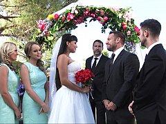 Amerikanisch, Blondine, Braut, Absätze, Küche, Hochzeit