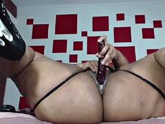 Ebony BBW Masturbation Dildo Squirt