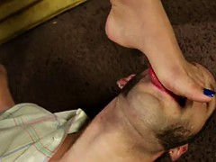 rough sex with a busty brunette after worshiping her feet