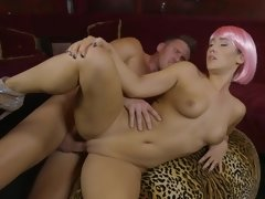 Actress with pink hair gets fucked by man who knows how to do it