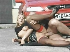 German outdoors stockings bang section by the car ST69