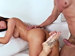 European babe footworshiped and banged