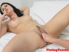 Busty lesbo fistfucked in gaping hole