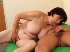 Big-breasted granny likes em young and fresh