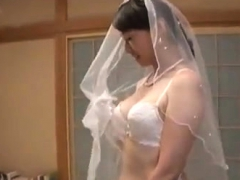 Japanese amateur in kinky lingerie fingered on desk