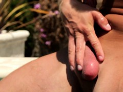 Muscular god in outdoor masturbation