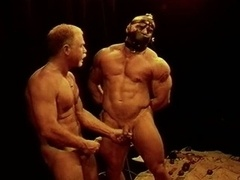 Squeezing and plus punching big bodybuilder s balls