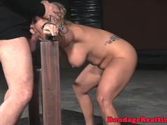 BDSM cocksucker roughly pounded in dom trio