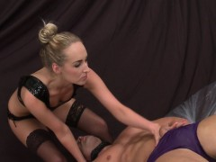 Blonde female dom rides muscle subs cock