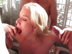 Sexy blonde milks a big phallus dry