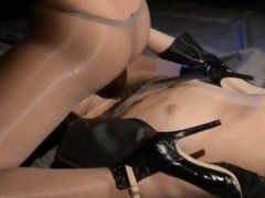 Blindfolded gal gets loving by strap on