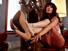 hot redhead has her feet worshipped before giving a footjob