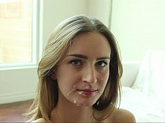 Young Maci Winslett taking facial load