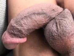 Busty ebony tranny gaping and jerking her bbc