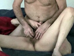 Hairy older amateur couple make each other cum