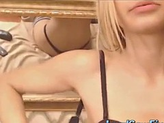 sexy blonde on webcam showing her nice small tits and plays her pussy with dildo