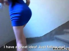 Tight black haired Eurobabe pounded by stranger for cash