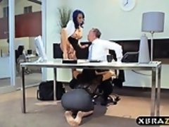 Four interns compete for the position by fucking the boss