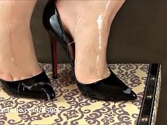 handjob in high heels cum
