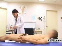CFNM Japanese eager mom doctor bathes patients hard penis