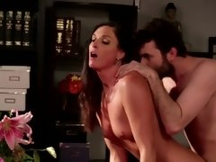 A hot bitch is on the wooden desk, getting penetrated deeply