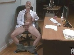 Sexy Bisexual Grandpa Beating His Meat At The Office &039;work&039;