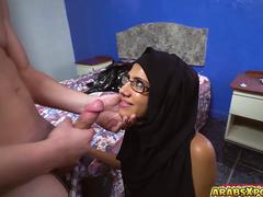 Shaved Arab pussy gets banged so hard by a big cock
