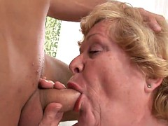 rough sex leaves horny granny with a warm creampie