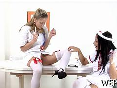 Cute lesbian doctor has sex with her patient