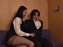 naughty asian cowgirl with big natural tits fingering herself erotically before giving a decent blowjob