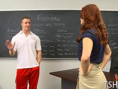 Redhead schoolgirl falls in love with teachers dick