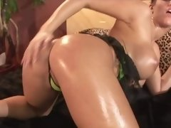 Busty darling in high heels gets oiled up and banged so damn hard