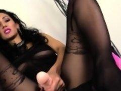 Tanya loves feeling nylon on her feet
