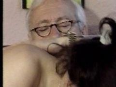 Distinguished mature grandpa getting some good head