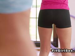 Interracial lesbo sex in fitness room