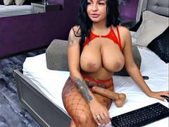 sexy huge booms latina in pantyhose plays with big dildo