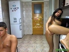 sexy brunette fucked in the kitchen 1 win media video