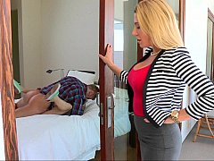 Beautiful blonde mom watches her daughter fuck