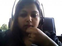Bored Desi chubby on webcam plays with her boobie