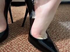 black stilettos dangling & heeljob