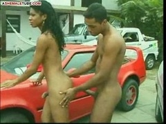 BRAZIL Shemale FUCKING ON A RED CAR HOOD