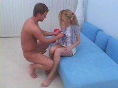 18-19 year old In Pigtails Gets Backdoor Cream
