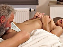 daddy4k. beautiful blonde embarks morning sex with