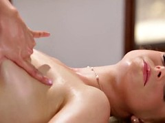 busty redhead babe gets oli brest massage from blonde babe